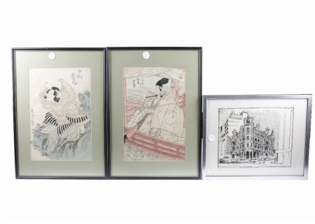 A group of pictures of Asian interest, including two tinted woodblock prints of figures amongst