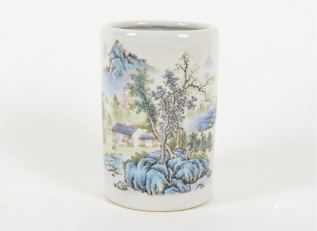 A 20th Century Chinese brush pot, with transfer printed decoration of a house within the