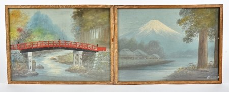 A pair of Japanese watercolours, each with indistinct signature to lower left and right