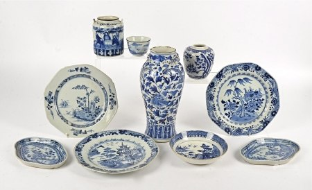 A collection of blue and white porcelain, including two vases (one AF), two bowls, three plates, two