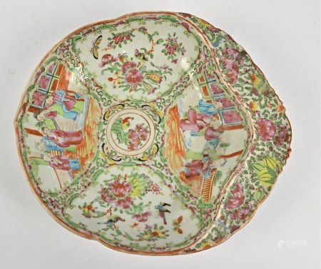 A 19th Century Chinese canton famille rose porcelain moulded dish, the body of the dish decorated