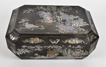 A Japanese Meji period mother of pearl inlaid jewellery box, of cushion hexagonal shape decorated