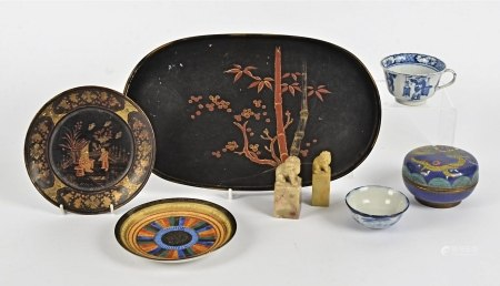 A collection of Asian works of art, including a cloisonne box and cover decorated with dragon and