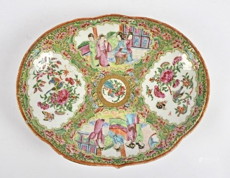 A 19th Century Famille Rose Canton Chinese kidney-shaped dish, shaped with four open cartouches,