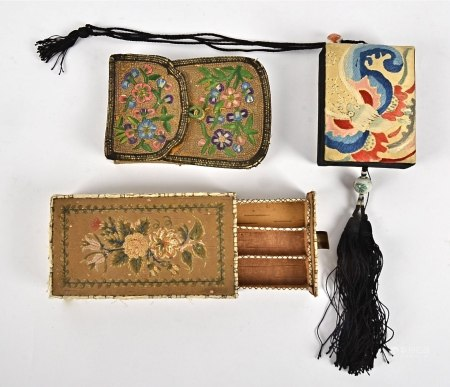 A 19th Century Chinese pouch purse, embroidered with flowers and foliage, 12cm x 9cm, together