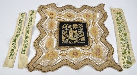 Three 19th Century Chinese silk sleeve cloths, embroidered with scrolling vines and flowers in