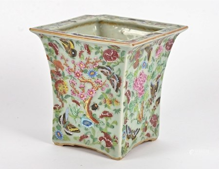 A 19th Century Chinese Famille Rose square planter, polychrome decoration of butterflies, insects