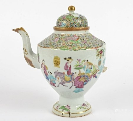 A 19th Century Famille Rose coffee pot, of baluster form, with domed lid, decorated with