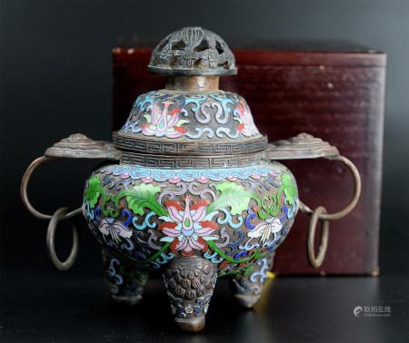 景泰藍環耳爐