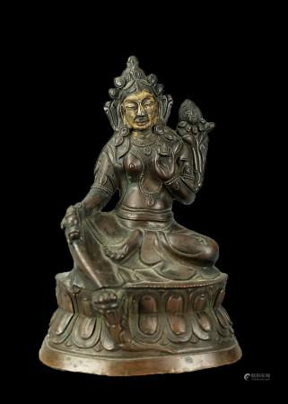 銅鎏金度母像