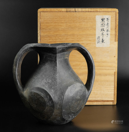 黑陶雙耳壺