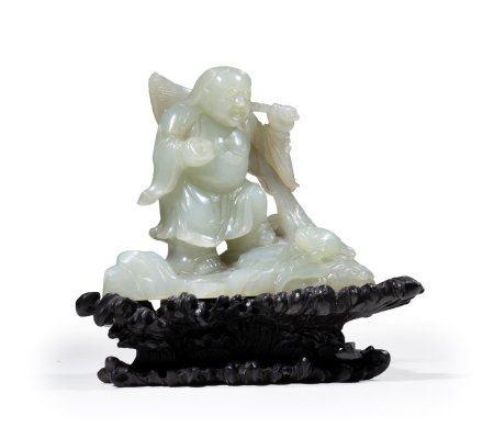 GROUPE EN JADE CELADON SCUPTE A L'EFFIGIE DE LIU HAI Chine, Moderne, De style Ming Sculpté dans
