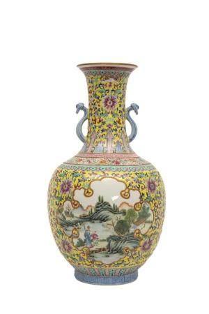 VASE EN FORME DE SPHERE CELESTE, TIANQIUPING Chine Les anses, hautement plastiques, aux sceptre