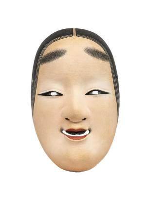 MASQUE DU THEÂTRE NÔ A L'EFFIGIE DE KO-OMOTE 小面 Japon, XXème siècle  Bois laqué. Il représente