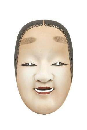 MASQUE DU THEÂTRE NÔ A L'EFFIGIE DE KO-OMOTE 小面 Japon, XXème siècle  Céramique polychromée. Il