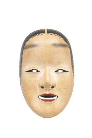 MASQUE DU THEÂTRE NÔ A L'EFFIGIE DE WAKAONA Japon, Meiji / Taisho  Bois laqué. Les yeux en aman