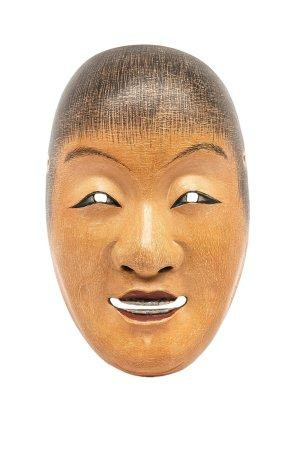 MASQUE DU THEATRE NÔ A L'EFFIGIE DE SHOJO 猩々 Japon, Showa Bois laqué. Les yeux arqués, les lèvr