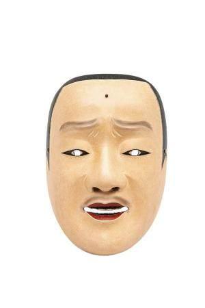 MASQUE DU THEÂTRE NÔ A L'EFFIGIE DE SHUJO Japon, Showa Bois laqué. Lèvres rouges, dents noirs e