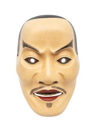 MASQUE DU THEÂTRE NÔ A L'EFFIGIE DE HEIJA Japon, Showa Bois laqué. Les yeux cerclés de métal, l