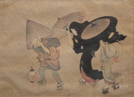 D'après KITAGAWA UTAMARO (c.1753-1806) Scène nocturne aux deux geishas et un port de lantern