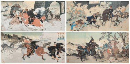 D'après Migata TOSHIHIDE (1863-1925) L'invasion de Taiwan / 乙未戰争 Suite de cinq tryptiques d'oba