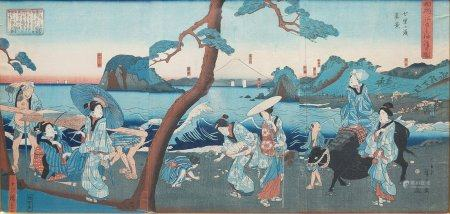D'après Utagawa HIROSHIGE Vue distante d'Enoshima depuis Shichirigahama Tryptique d'oban tata-e