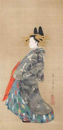 Attribuée à Chobunsai Eishi (1756-1829) Oiran Hinazuru Encre et couls sur soie Signée en bas