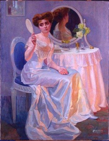 Tableau HST -Jeune dame à la coiffeuse- signé *HESS M.* (Marcel) (Bruxelles 1878, [...]