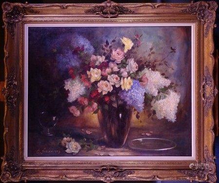 Tableau HST -Bouquet de roses et lilas- (rest) signé *NOELANDERS G.* (Gaston) (1910, [...]