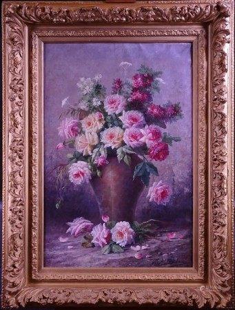 Tableau HST -Bouquet de fleurs- signé *CARLIER M.* (Max) (Tourcoing 1872, Schaerbeek [...]