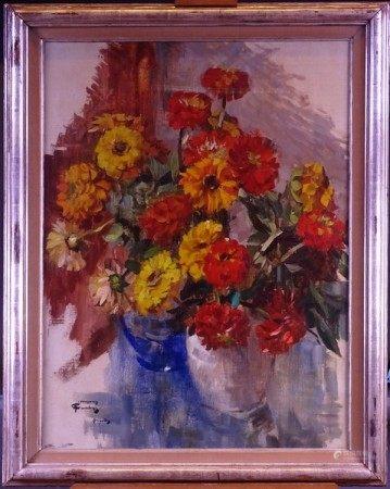 Tableau HST -Bouquet de fleurs- signé *COURTENS H.* (Hermann) (1884, 1956) [...]