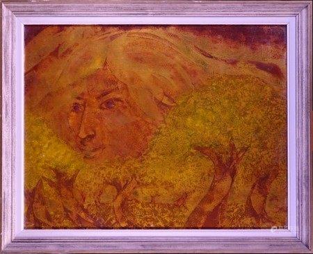 Tableau HSP -Tête de femme- signé *BASTIN P.* (Pierre) (Flémalle 1939, ) 80x62cm [...]