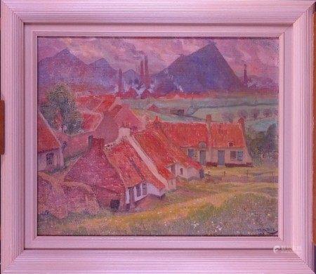 Tableau HST -Paysage Borain- daté 1916 signé *CARTE A.* (Anto) (Mons 1886, Ixelles [...]