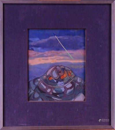 Tableau HST marouflée sur carton -Labyrinthe de la méditation- daté 1973 signé [...]