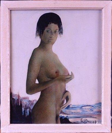 Tableau technique mixte aquarelle/encre -Nu feminin- signé *PELOUSSE R.* (René) [...]