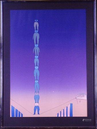 Estampe: Litho couleur -Sans titre- *FOLON J-M.* (Jean-Michel) (1934, 2005) 79x58cm [...]