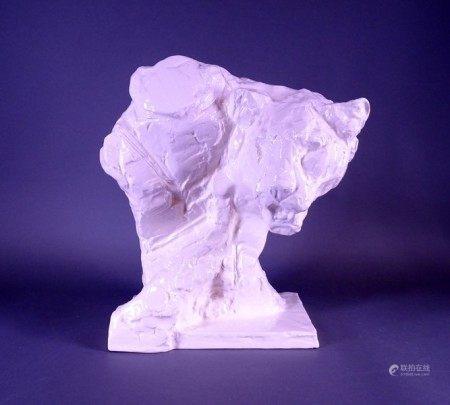 Sculpture: Tête de tigre en faience blanche ROYAL BOCH Belgique n° 7/600 signé [...]