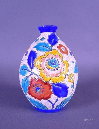 Céramique: Vase en faience fine KERAMIS Belgique Circa 1939 F1046 ovoide col ouvert [...]