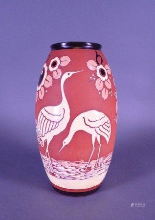 Céramique: Vase en faience fine KERAMIS Belgique monogrammé M Circa 1939 (chev) [...]