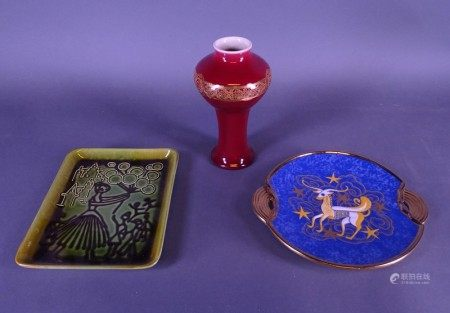 Céramique: Faience fine: Plat BOCH *CHEVALLIER R.* (Raymond) (1900, 1959) + Vase BFK [...]