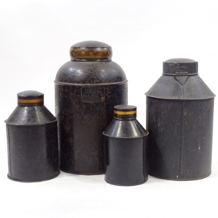 4 19th century metal tea canisters with painted and gilded decoration, largest decorated with