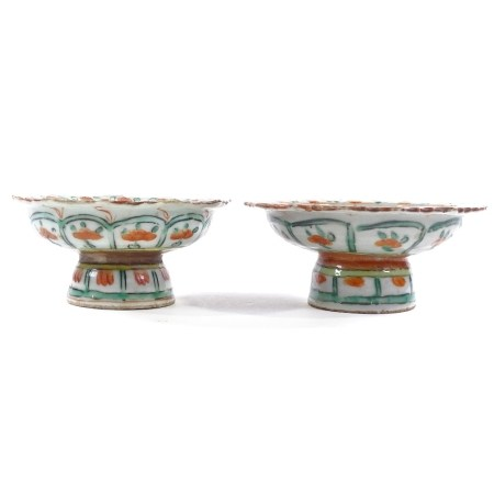 A pair of 19th century Chinese porcelain footed bowls, with painted enamel decoration, diameter 13cm