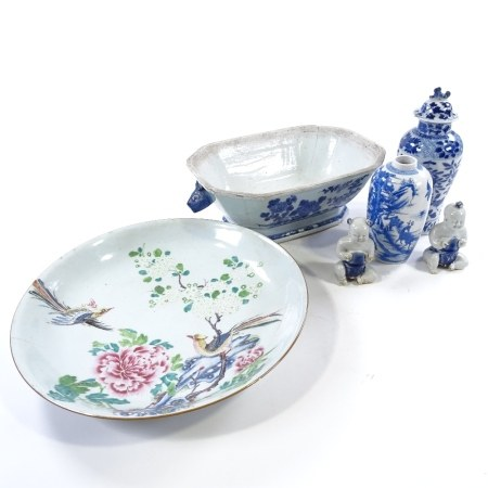 A group of Chinese porcelain items, including a peacock design enamel painted bowl, diameter 36cm,