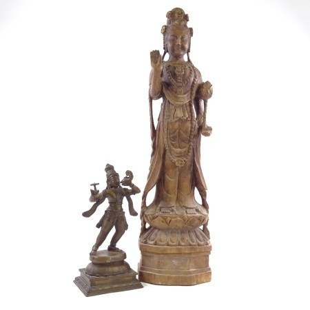 A Chinese carved stained wood standing Buddha, height 70cm, an Indian bronze dancing figure, and a