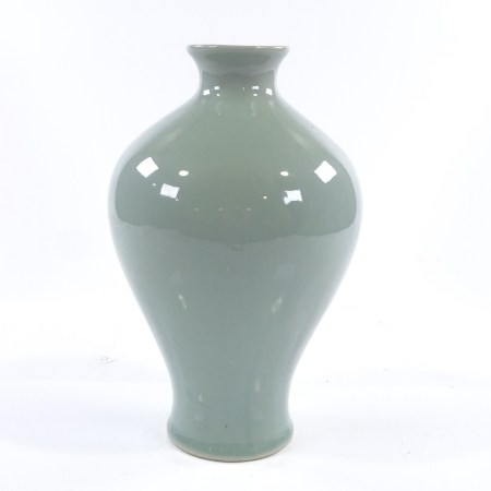 A Chinese celadon glaze meiping vase, height 26cm