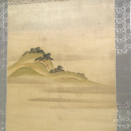 """Chinese scroll painting on paper, overall dimensions 23"""" x 75"""""""
