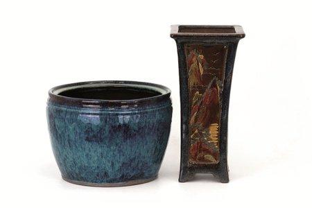 葛明祥製植木鉢 · 鳳紋彫大花入 2件組