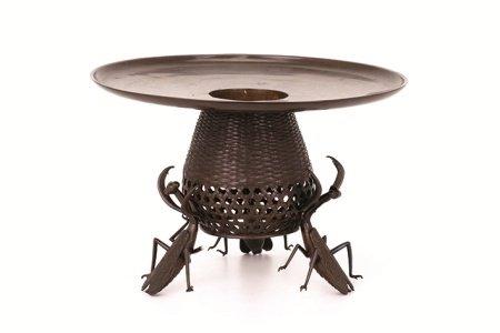 螳螂銅製花入(箱付)