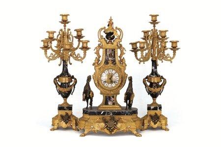 大理石銅鎏金座鐘·燭台セット 3點
