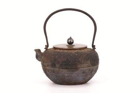 平丸形 銅蓋寶珠摘鉄瓶(箱付)